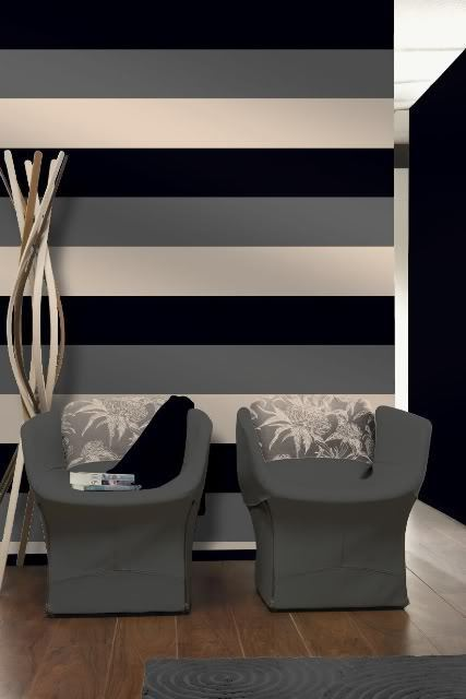 Black Silver Cream Striped Wallpaper eBay 427x640