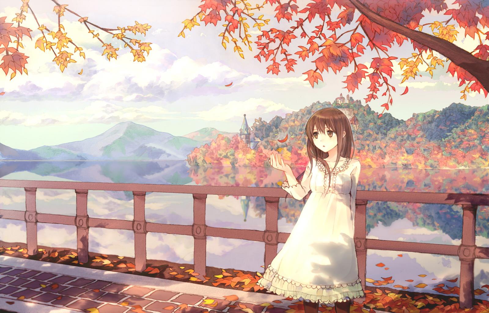 anime couple the melancholy of haruhi suzumiya fall wallpaper 1280x960 1600x1024
