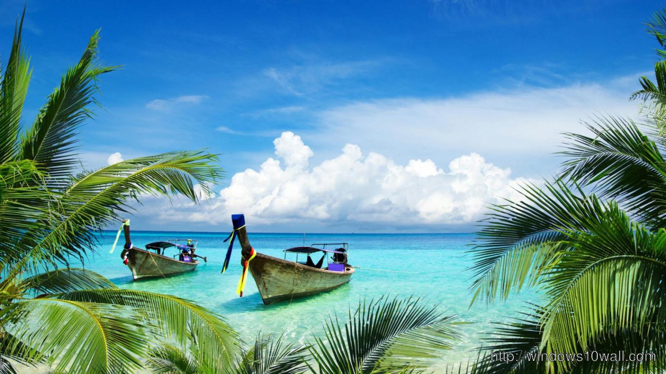 island facebook background cover hd boats on beach paradise island 1366x768