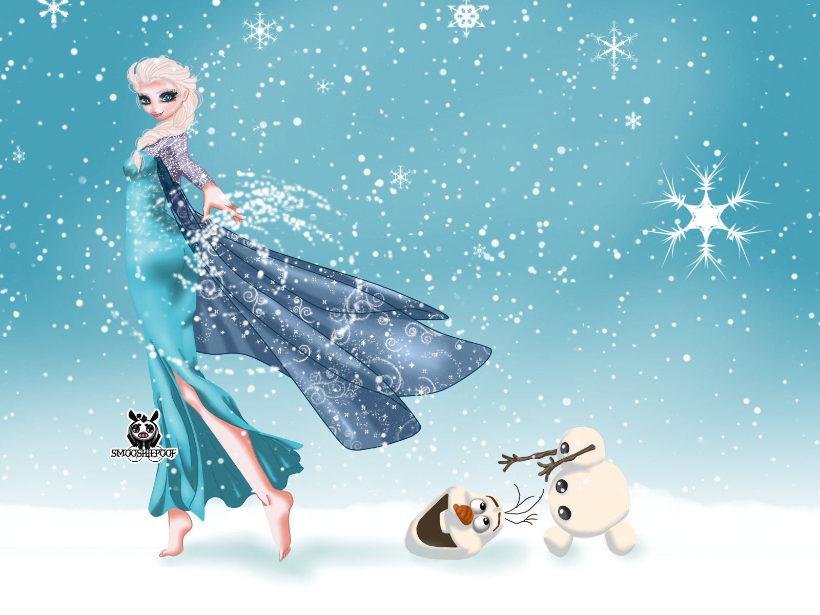 Frozen Wallpaper   Elsa and Olaf by leylaana 1600x1200