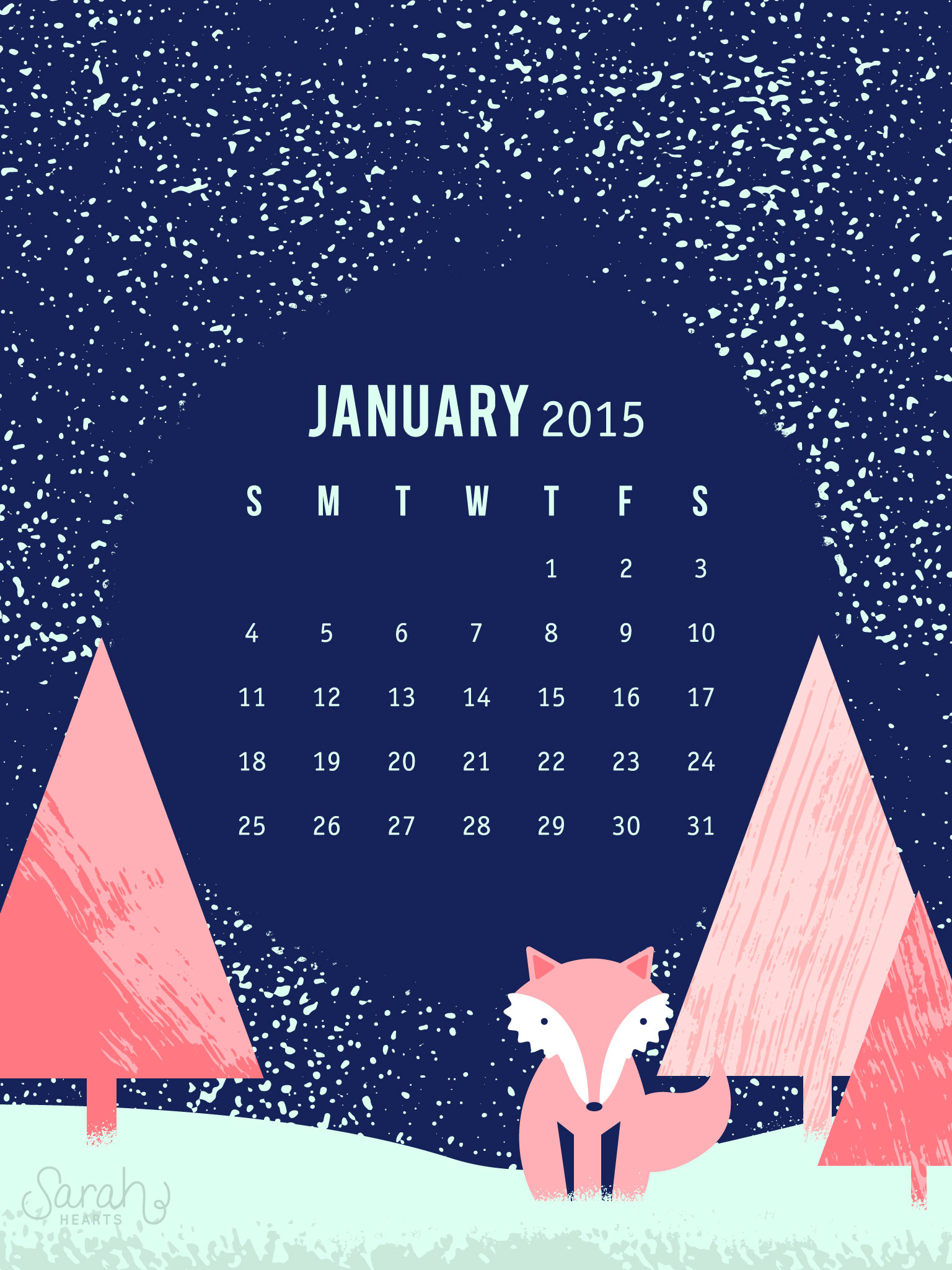 January 2015 Calendar Wallpaper   Sarah Hearts 1536x2048
