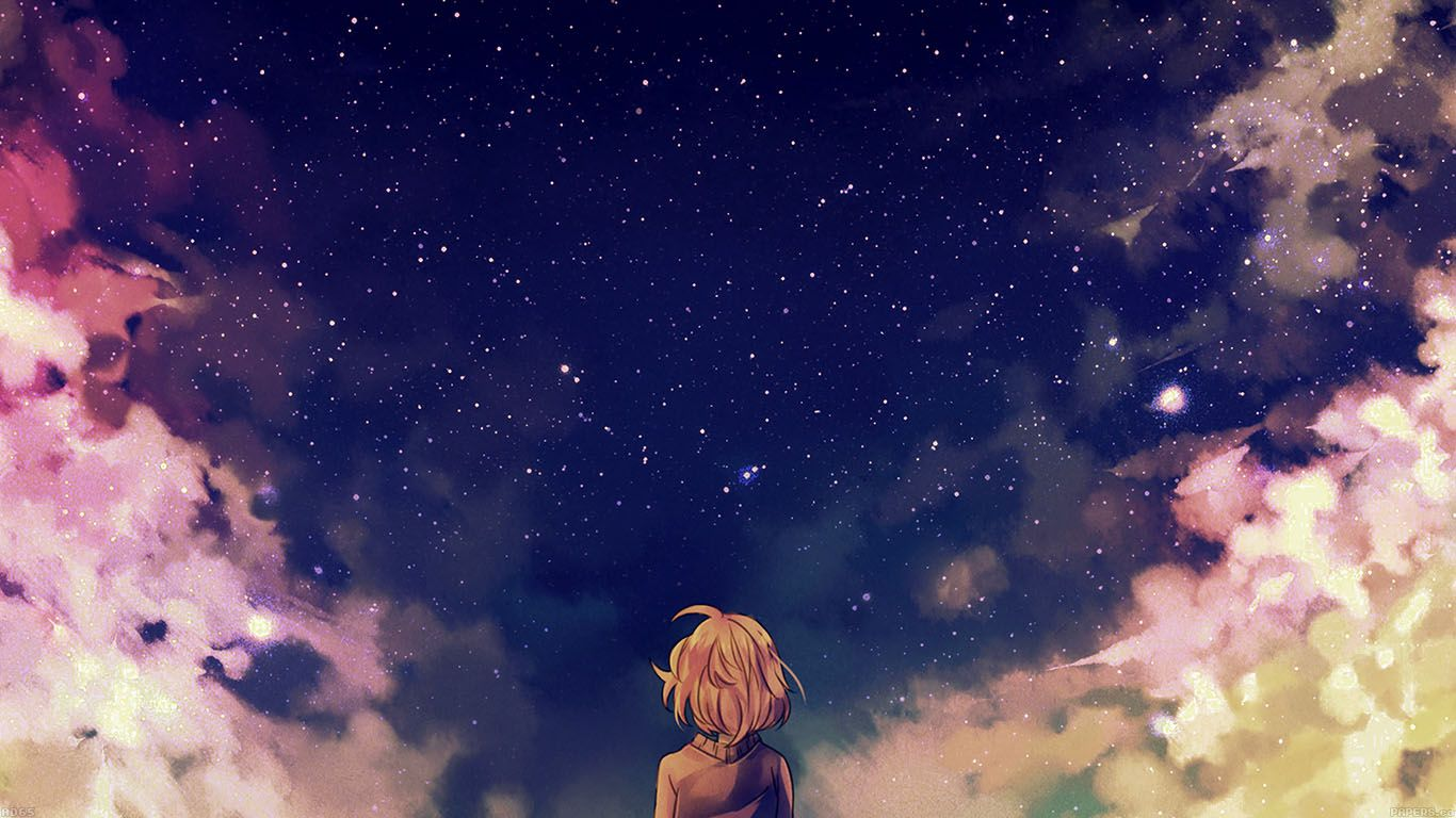 ad65 starry space illust anime girl Wallpapers Hd anime 1366x768
