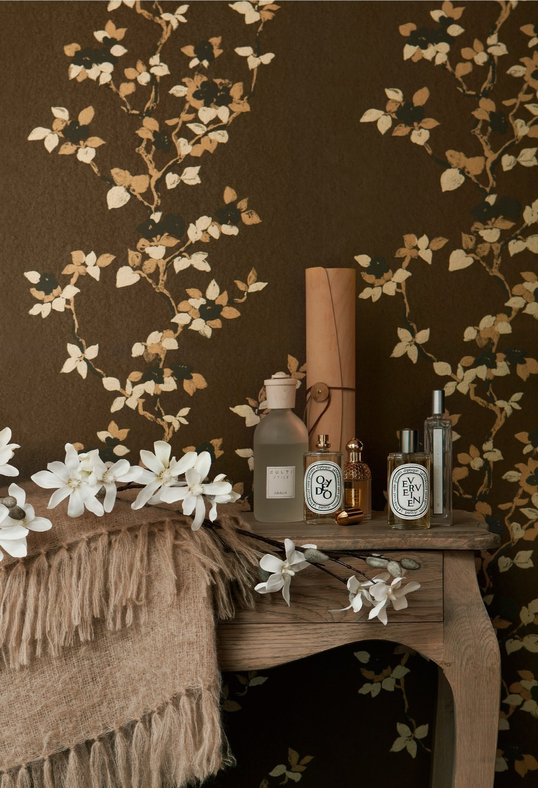 Orpheo Magnolia Blossom Brown Gold Wallpaper by PS 1093x1600