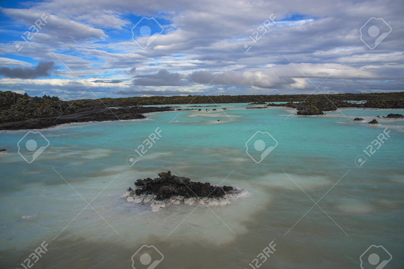 Geothermal with Mineral Blue Lake And Black Lava Stones 1300x867