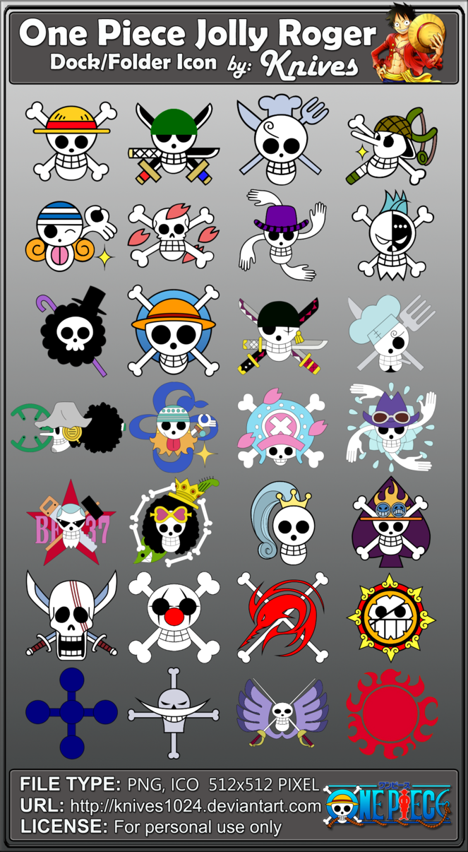 Free Download One Piece Jolly Roger Dock And Folder Icons By