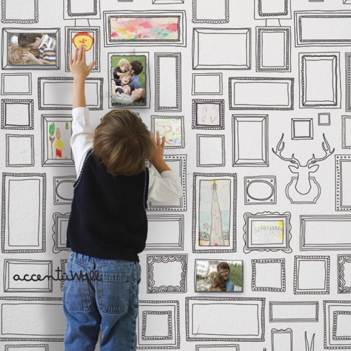 Frames Peel and Stick Fabric Wallpaper Repositionable SimpleShapes 500x500