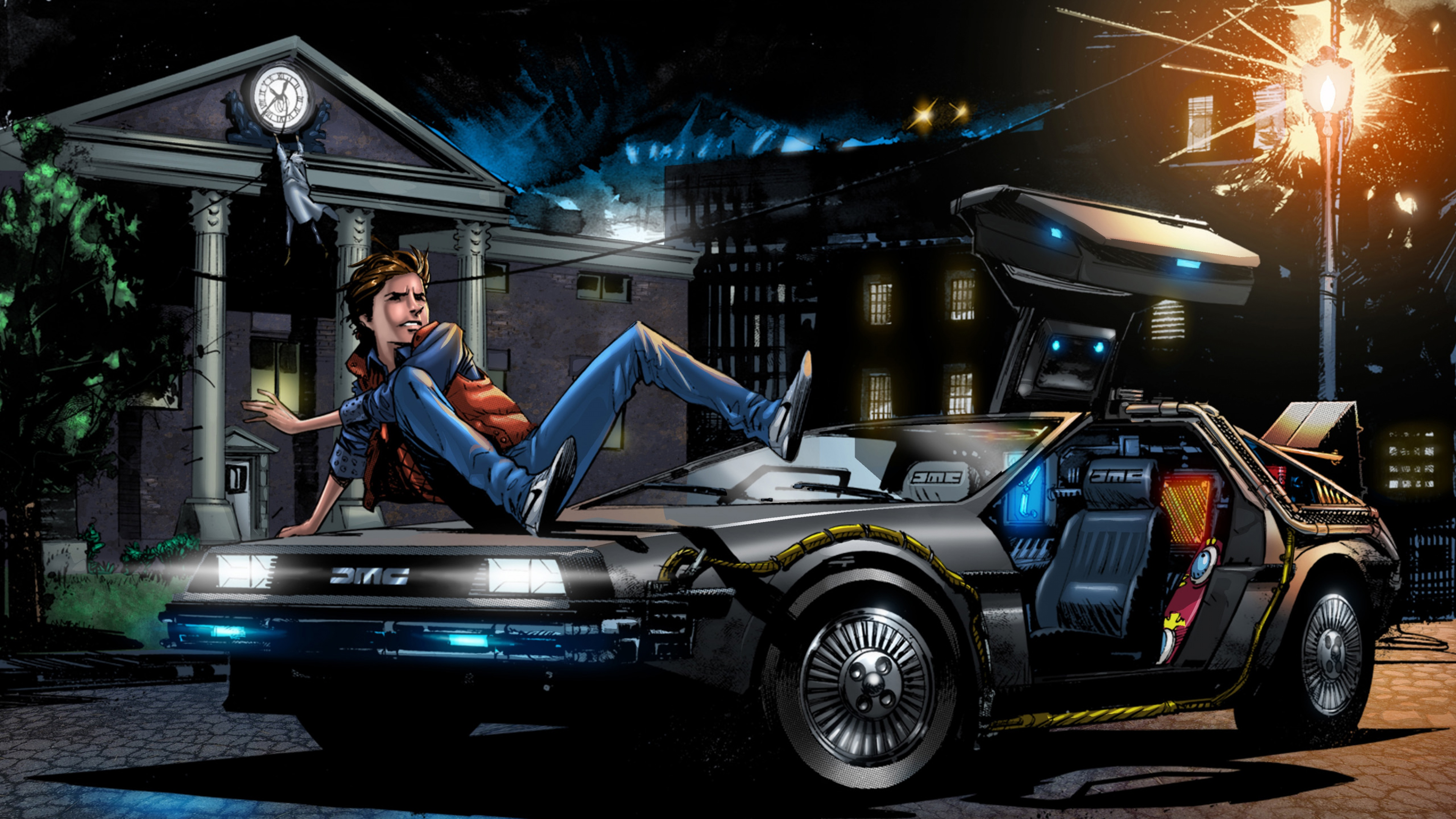 Wallpaper back to the future marty mcfly art delorean dmc 12 car 3840x2160