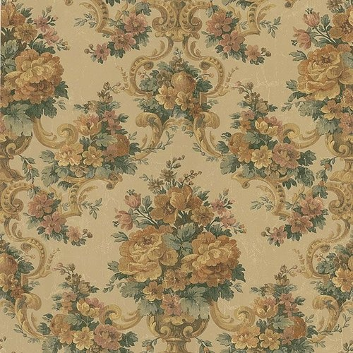 1231cm Wallpaper SAMPLE Floral Brocade on Antique Champagne Gold 500x500