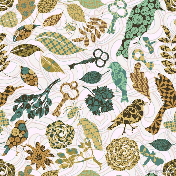 Designer Bird pattern vector material 1 600x600