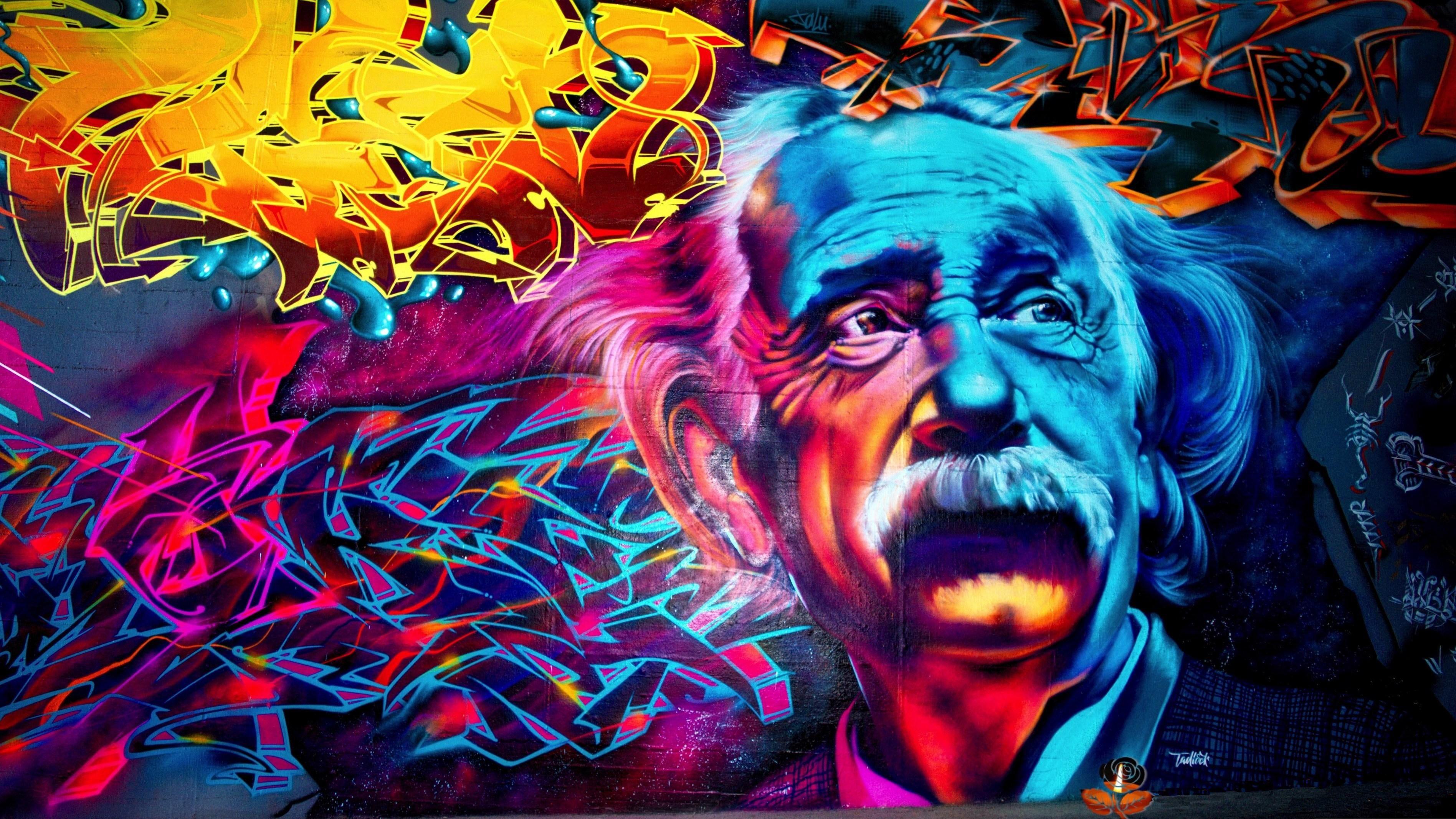 Einstein Graffiti Street Art HD wallpaper Wallpapers 4k para pc 3793x2134