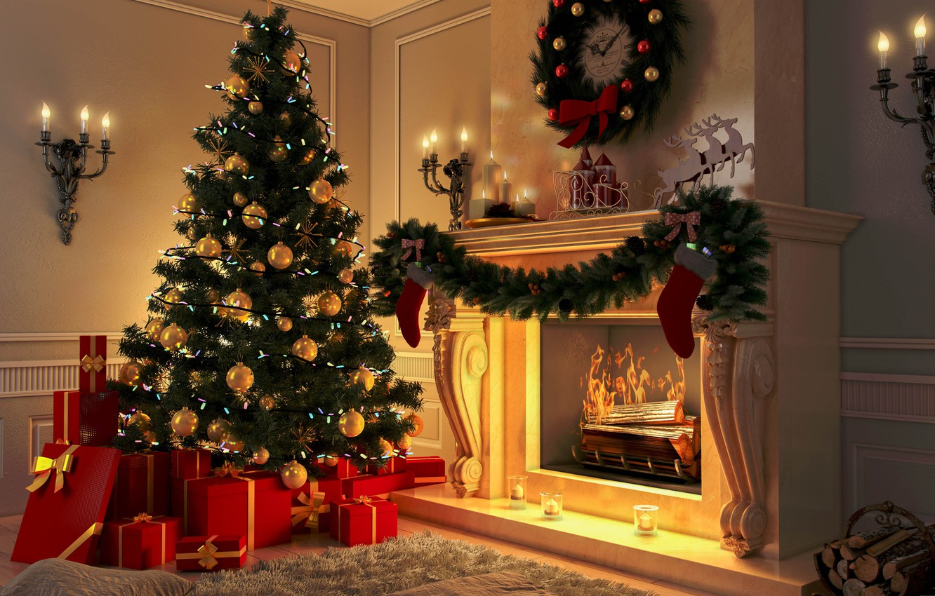Wallpaper decoration toys tree New Year Christmas fireplace 1332x850