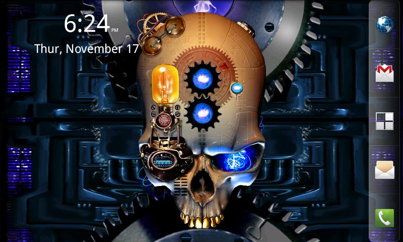 Steampunk Skull with animated gears bulbs and touch effects 800x480