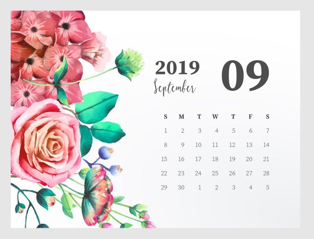 September 2019 Desktop Calendar Wallpaper HD Floral Design 1024x778