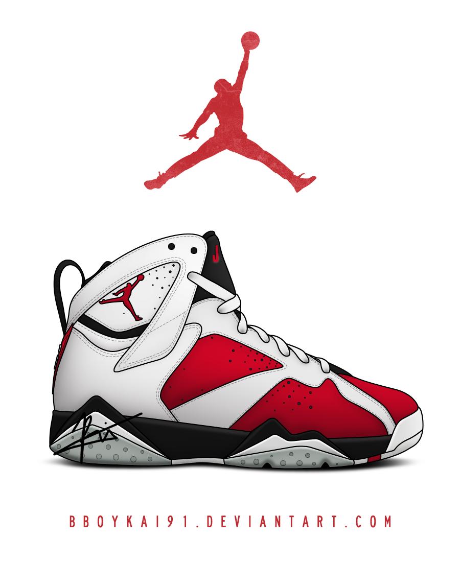 Air Jordan 7 Carmine Remake by BBoyKai91 900x1100