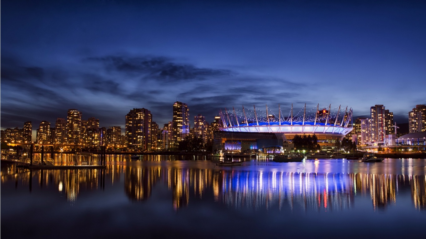 Vancouver City Night Blue Sky 1366 x 768 Download Close 1366x768