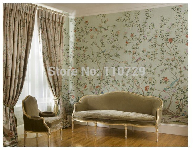 Hand painted silk wallpaper European style painting flower with bird 629x490