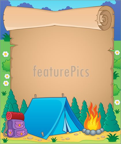 Illustration Of Camping Theme Parchment 1 Vector Clip Art To Download 420x500