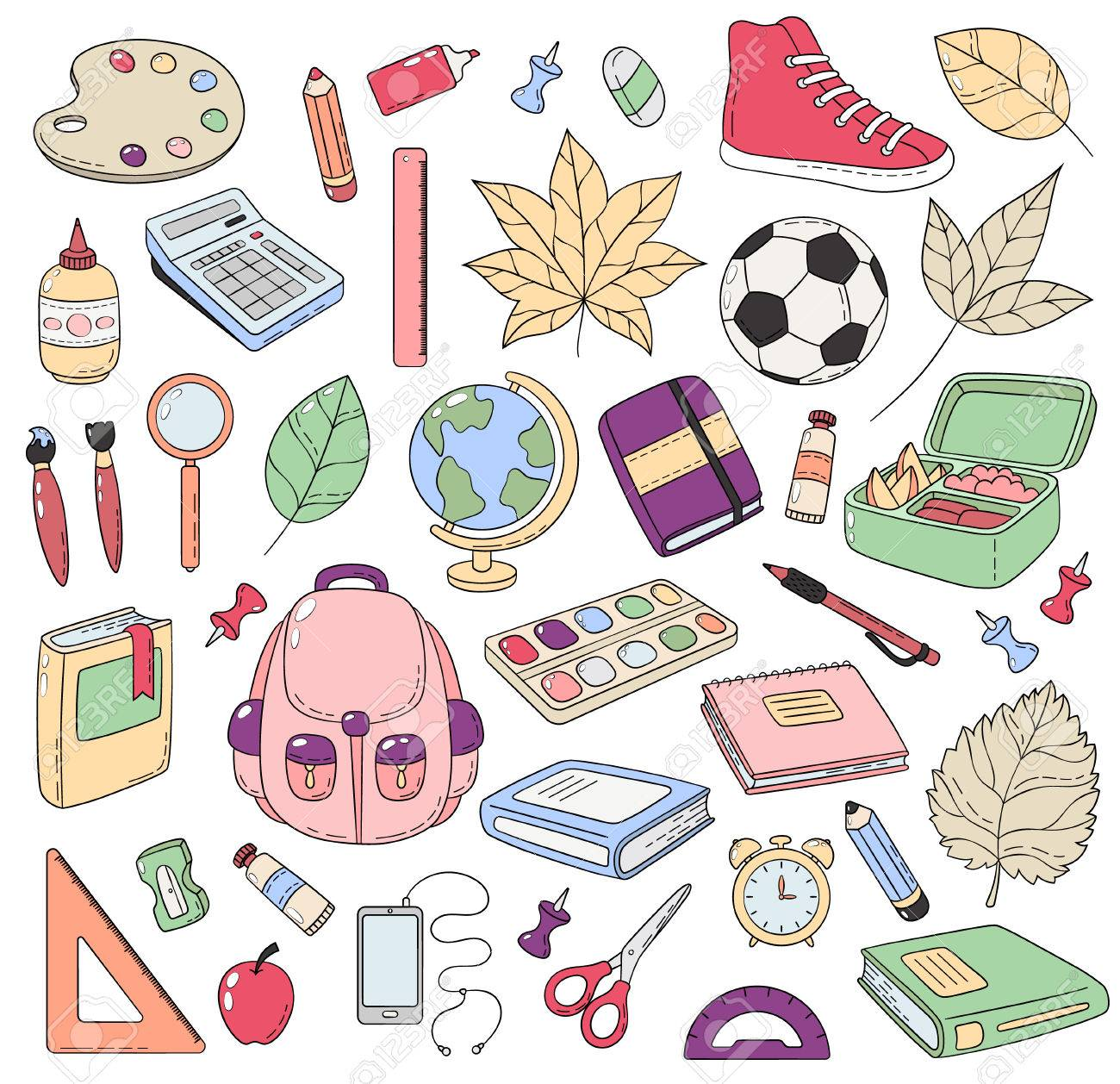 Vector Doodle Icons Collection School Supplies Back To School 1300x1258
