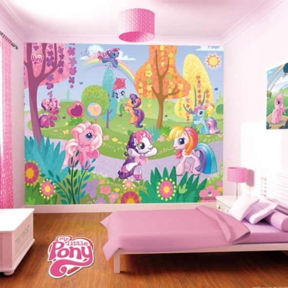 And Feminine Pink Colored Kids Bedroom Decoration With Cute Wallpaper 590x590