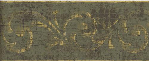 Gold Scroll on Green Alligator Skin Wallpaper Border RV2673B eBay 500x206
