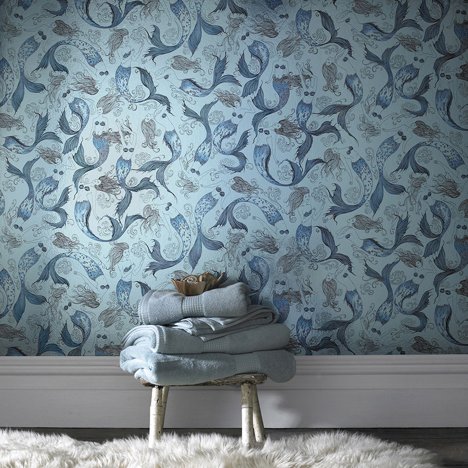 sheen this illustrated mermaid wallpaper plunges your bathroom 945x945