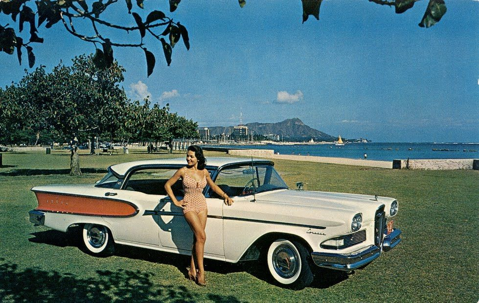 1959 EDSEL 2 DR   HAWAII   WAIKIKI BEACH   DIAMONDHEAD IN THE 979x620