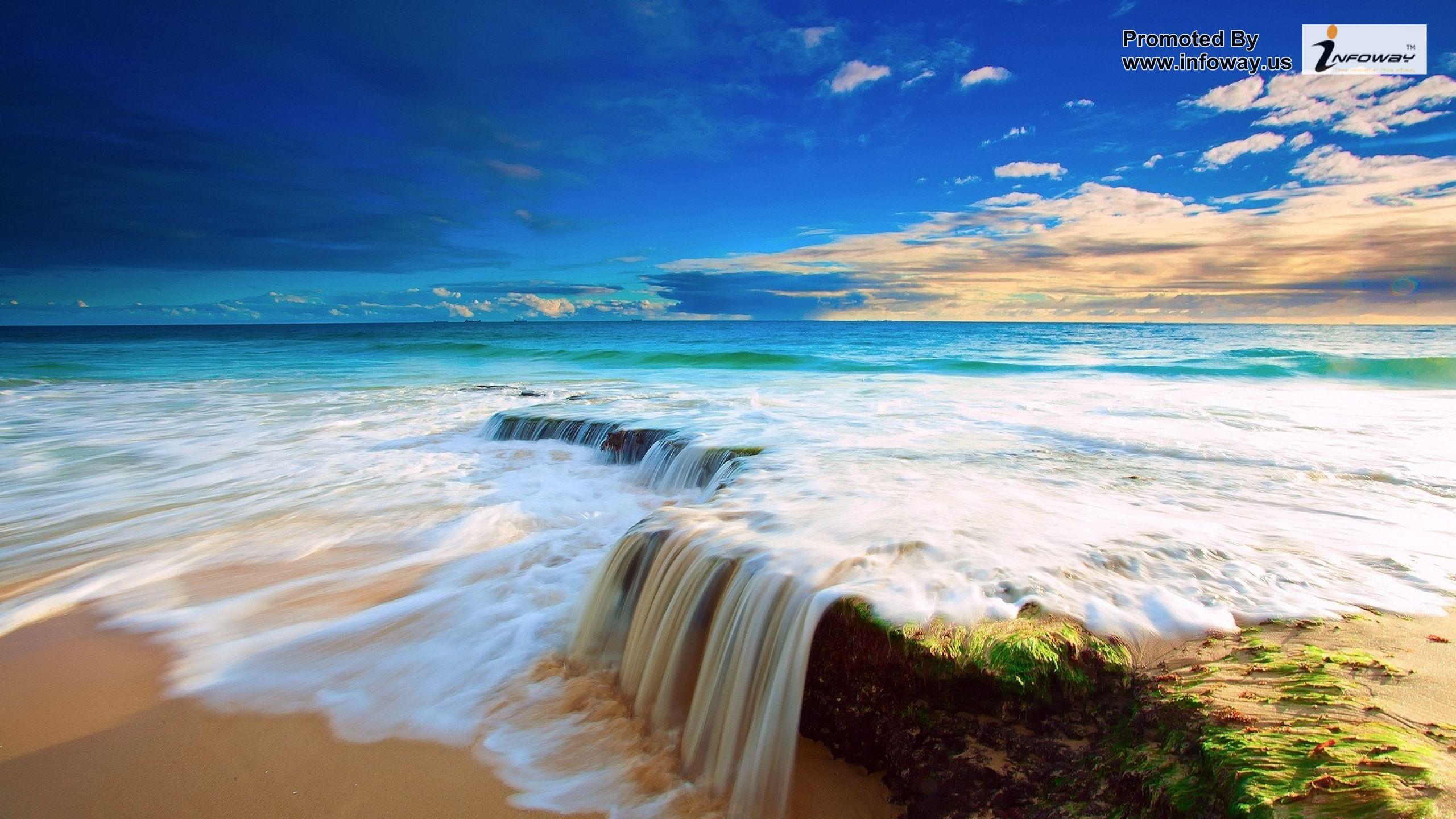 water ocean clouds nature be High Resolution Wallpaper 2560x1440
