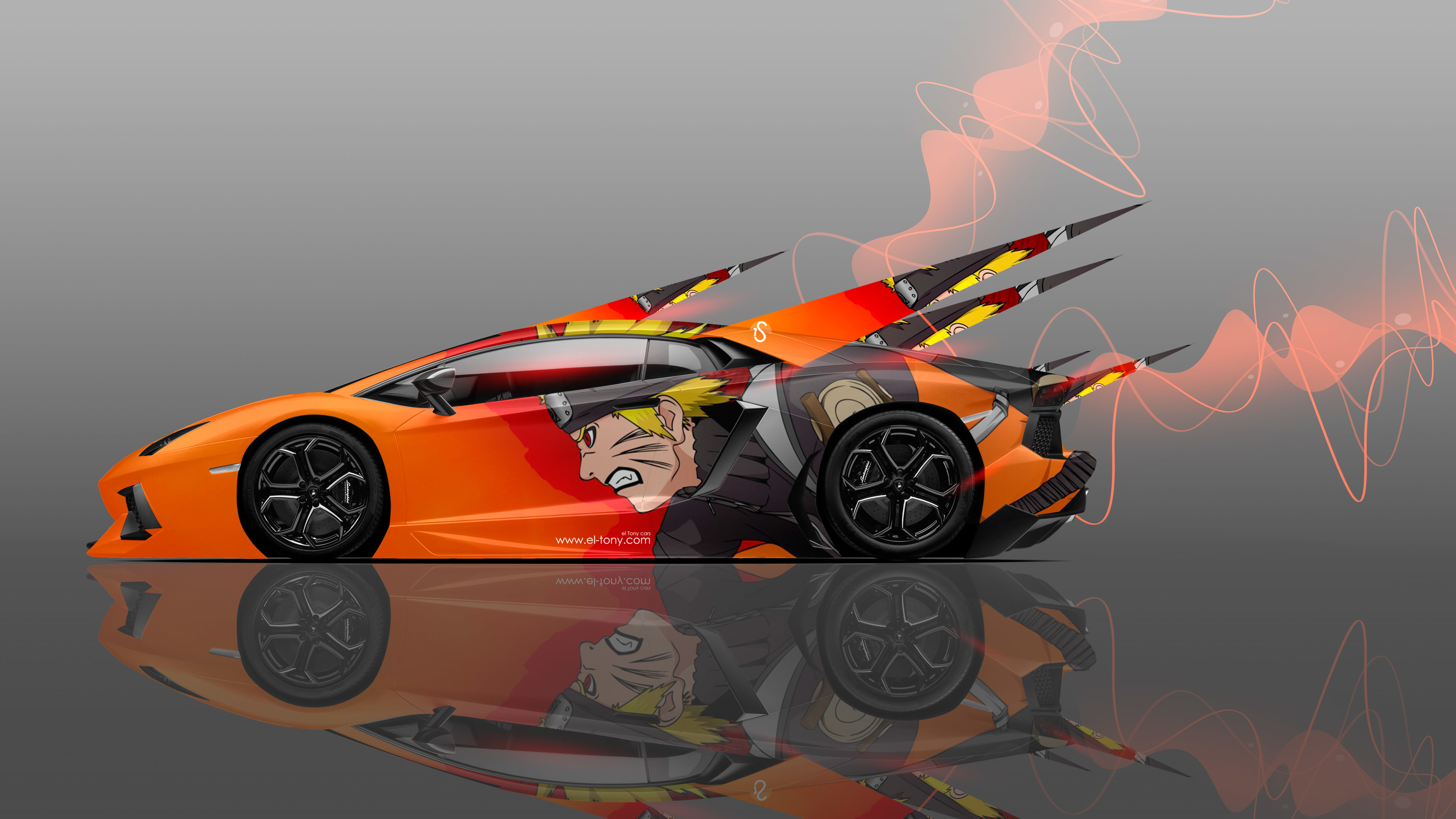 Wallpaper tony kokhan lamborghini aventador side anime naruto 3840x2160