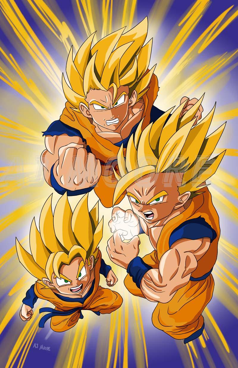 Goku Gohan Goten Super Saiyan Dragonball Z by GudFit 800x1236