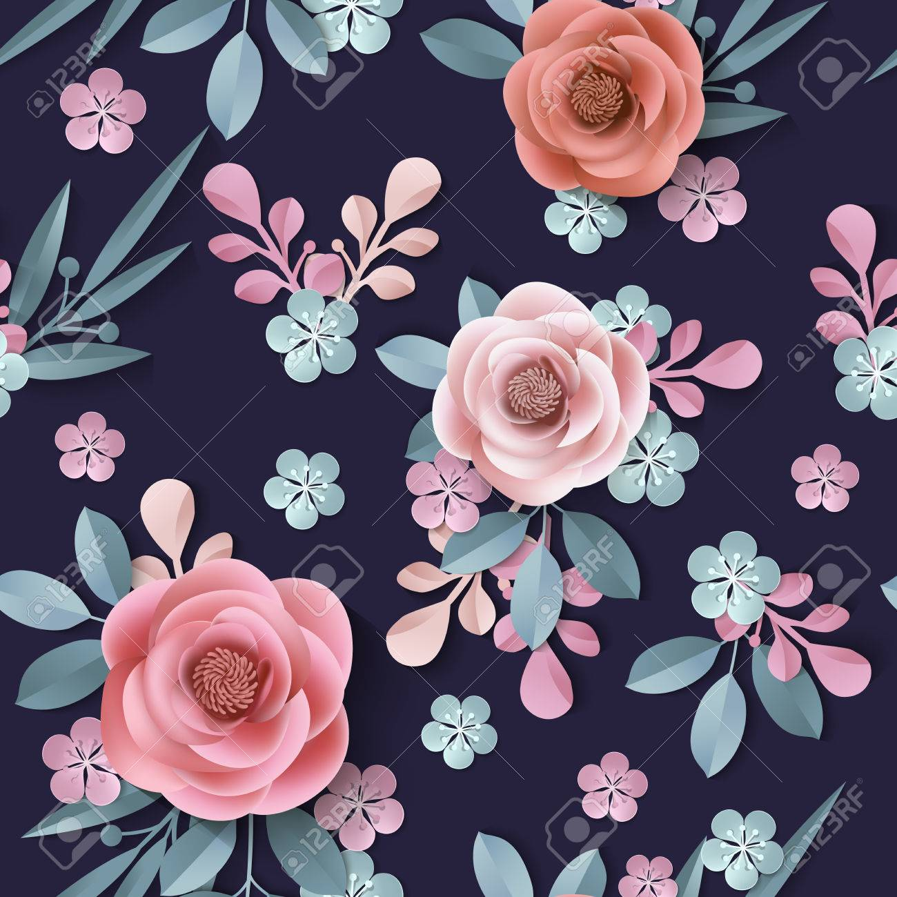 Seamless Pattern With Abstract Paper Flowers Floral Background 1300x1300