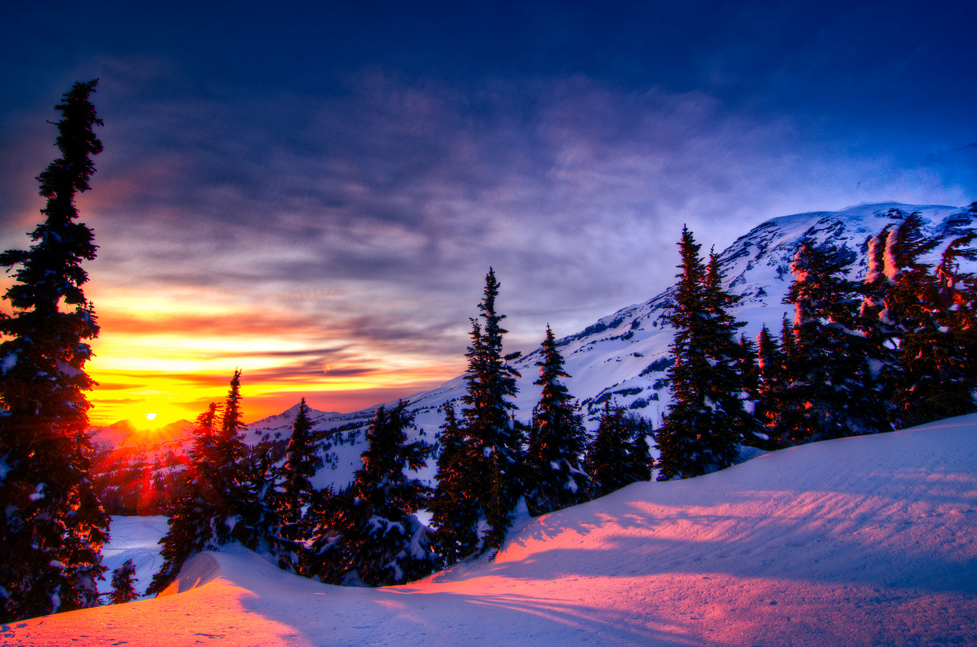 sunset winter trees mountains landscape wallpaper background 2000x1325