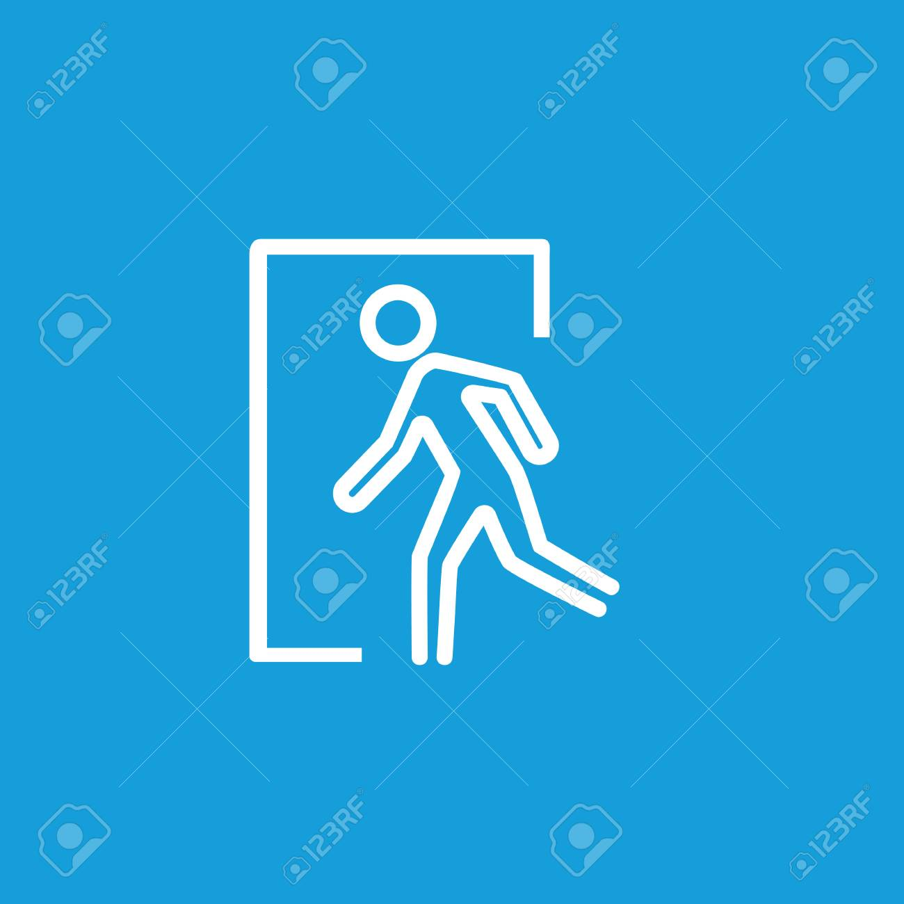 Emergency Exit Icon On Blue Background Royalty Cliparts 1300x1300