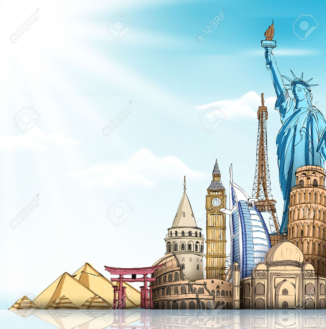 Travel And Tourism Background With Famous World Landmarks In 1289x1300