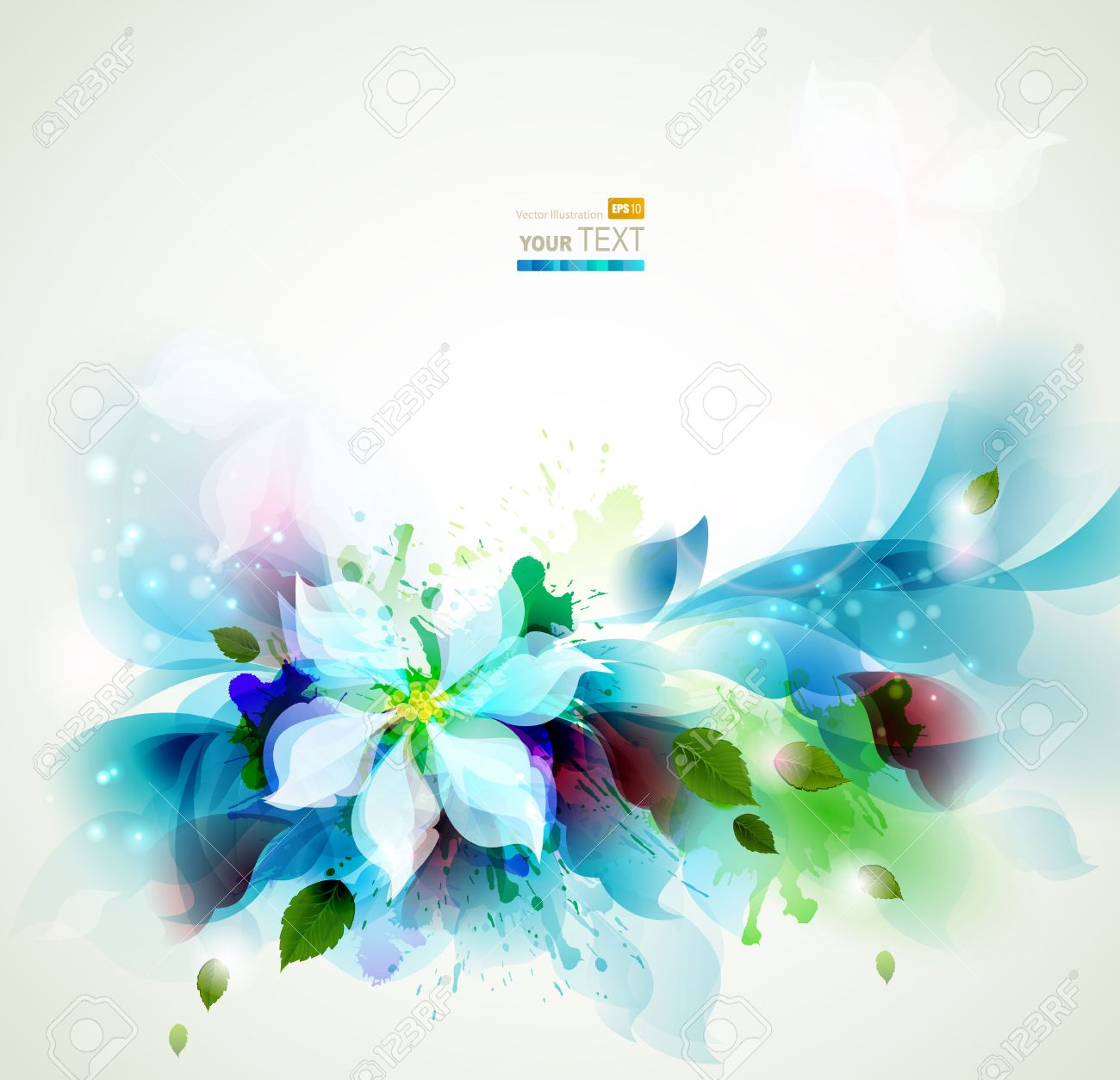 Abstract Blue Artistic Backgrounds With Floral Royalty 1300x1254