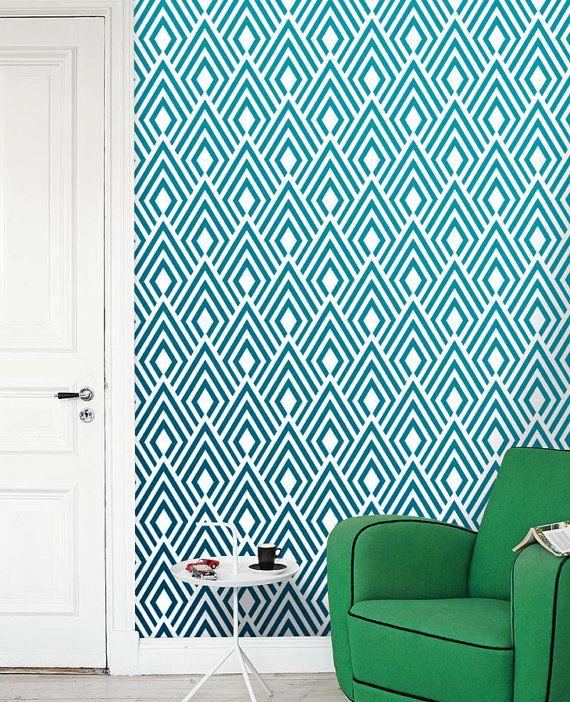 Removable self adhesive modern vinyl Wallpaper wall sticker   Ikat 570x702