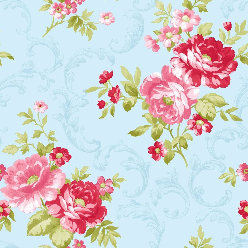 45 Blue And Pink Floral Wallpaper On Wallpapersafari