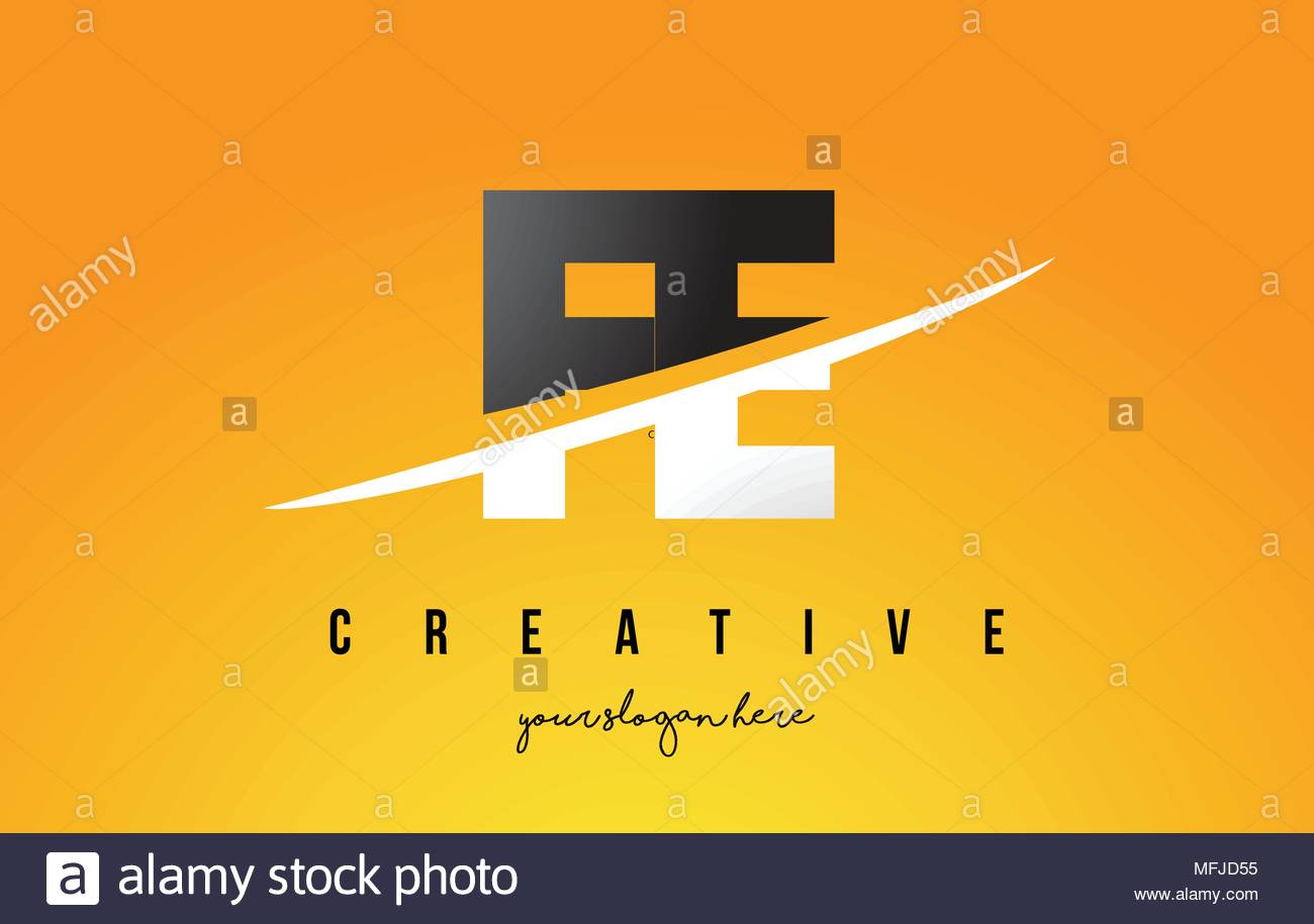 FE F E Letter Modern Logo Design with Swoosh Cutting the Middle 1300x915