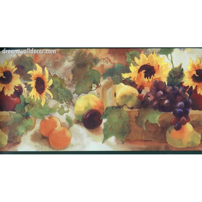 Sunflower Grape Fruit Basket Wallpaper Border 700x700