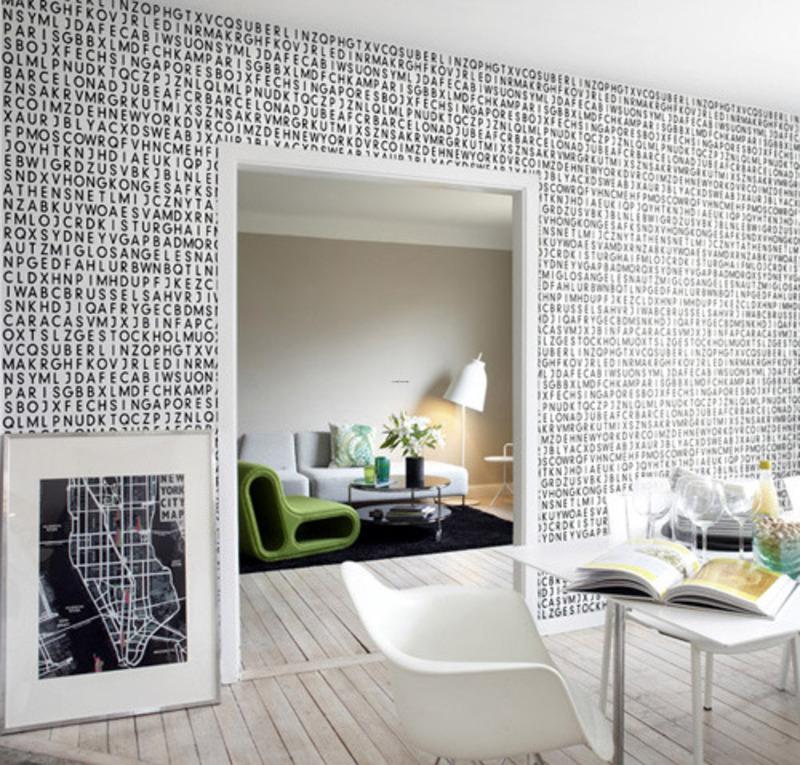 Designs Modern Black And White Alphabet Wallpaper Wall Pattern Ideas 800x765