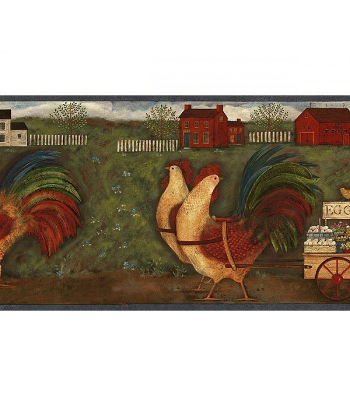 Blue Country Roosters Wallpaper Border 700x812