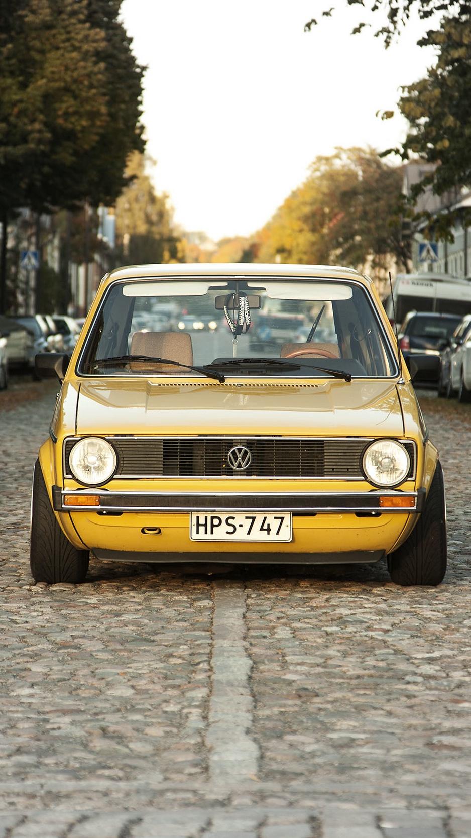 Download wallpaper 938x1668 volkswagen golf mk1 yellow front 938x1668