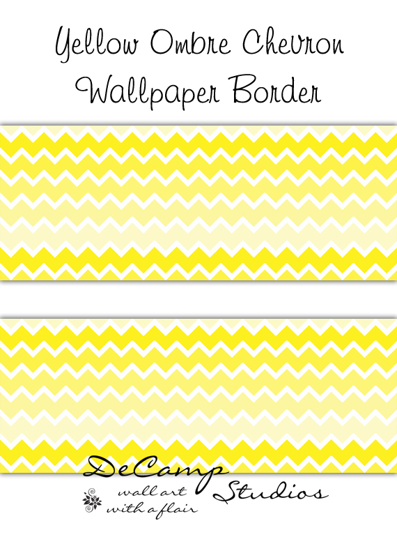 Yellow Ombre Chevron Wallpaper Border Wall Decals Girl Boy Room YELLOW 570x780