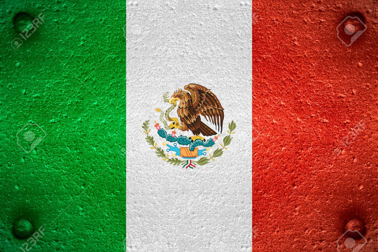 Flag Of Mexico Or Mexican Banner On Steel Background Stock Photo 1300x866