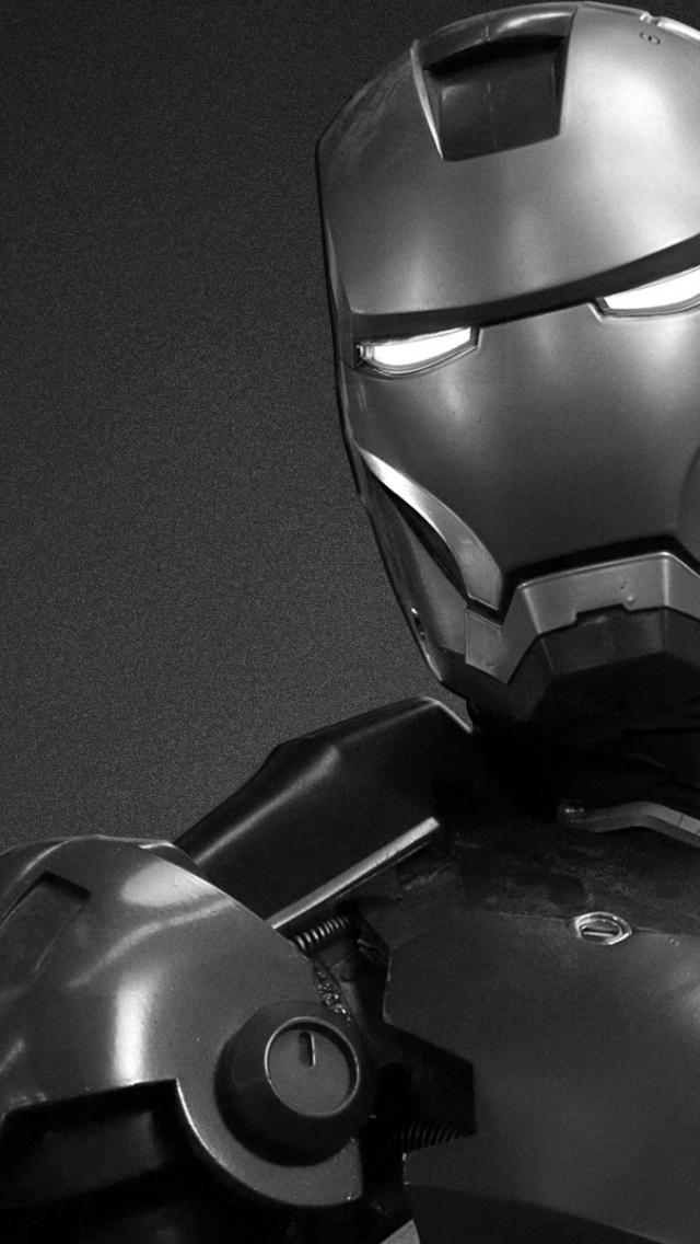 640x1136 Black and White Iron Man Iphone 5 wallpaper 640x1136