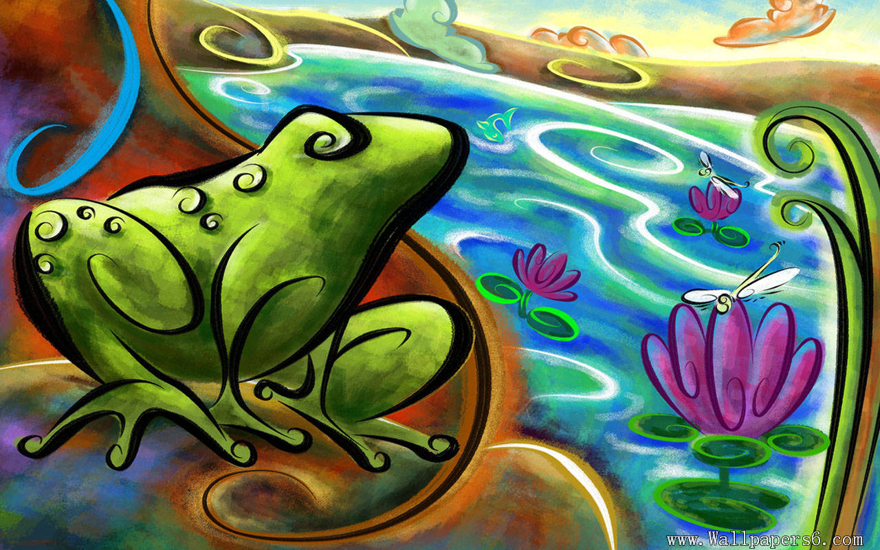 Animated frog wallpaper for computer wallpapersafari - Frog cartoon wallpaper ...