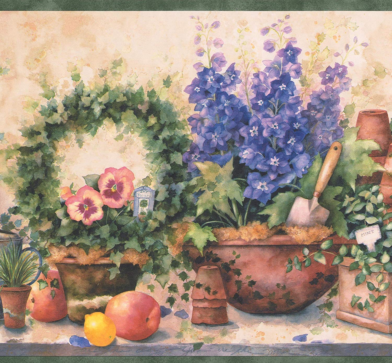Purple Flowers in Pots Fruits Gardening Tools Farmhouse Wallpaper 1500x1389