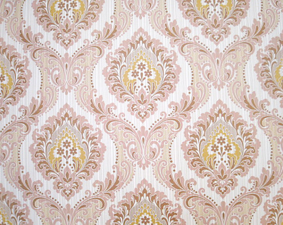 SHIPPING Pink Gold Victorian Vintage Wallpaper   Gorgeous Retro Design 570x453