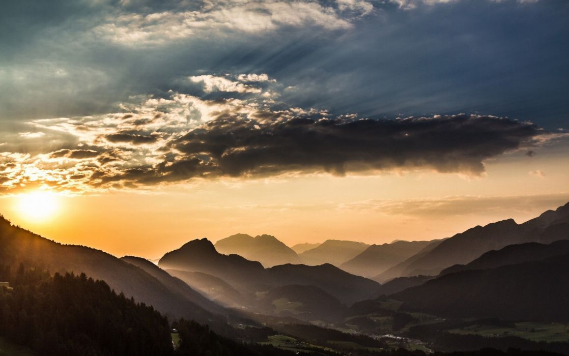 Clouds forest landscape mist mountain nature sky sunset Valley 1118x700