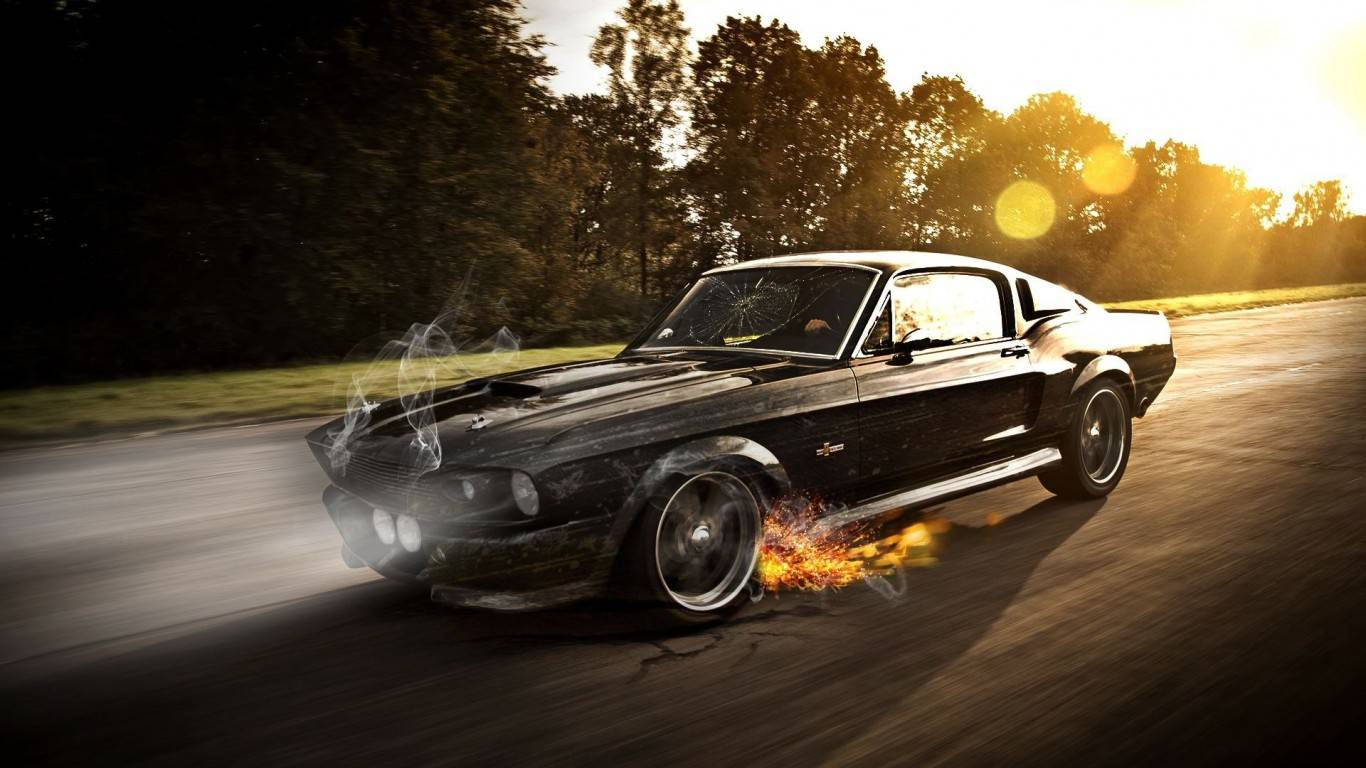 Ford mustang shelby Gt350carsmokeoldsuper carsfire sparkracing 1366x768
