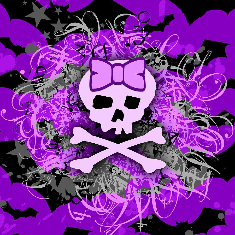 Purple Girly Skull by Roseanne Jones 900x900